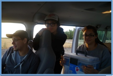 Researchers wait in van after finishing the pre-shift session