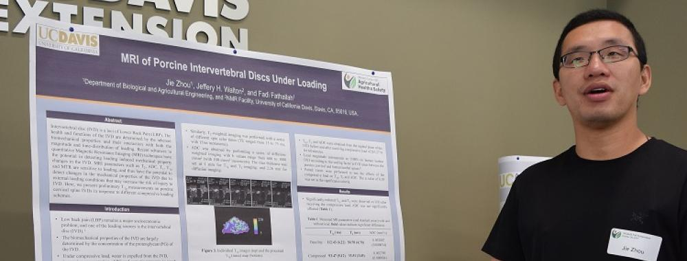 "Jie ""Victor"" Zhou presents poster MRI of Porcine Intervertebral Discs under loading"