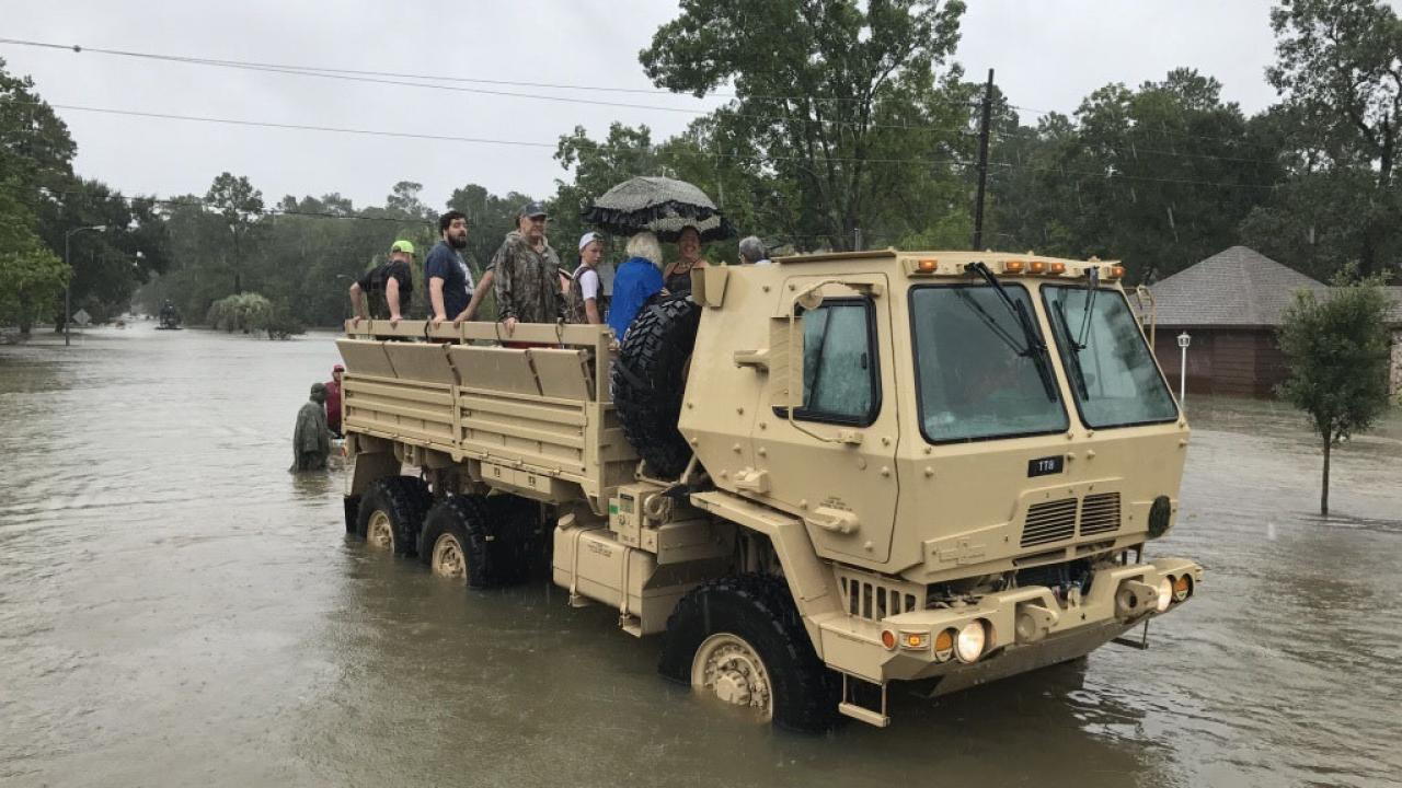 Texas Guardsmen rescuing residents from Hurricane Harvey flooding