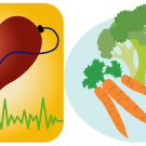 Heart with stethoscope, fruits and vegetables